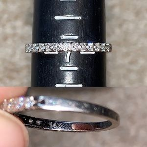 1/4CTW band 13 diamonds in solid 14K white gold